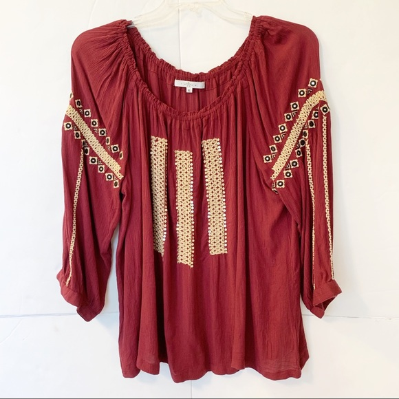 Fever Tops - Fever Embroidered Sequined Details Boho Top